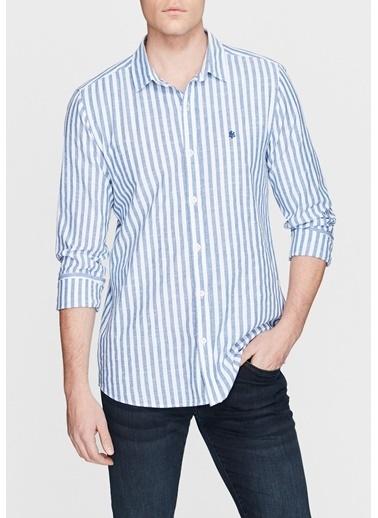 Mavi Çizgili Cepsiz Gömlek Mavi